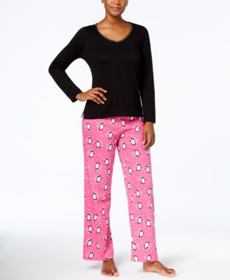 Image of Charter Club Graphic Top & Printed Pants Pajama Set, Created for Macy's