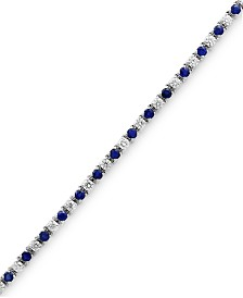 EFFY® Sapphire (3 ct. t.w.) & Diamond (2-1/6 ct. t.w.) Tennis Bracelet in 14k White Gold
