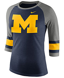 Nike Women's Michigan Wolverines Team Stripe Logo Raglan T-Shirt