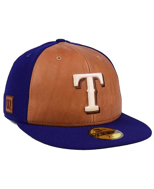 b93012ed New Era Texas Rangers X Wilson Leather Front 59FIFTY Fitted Cap ...