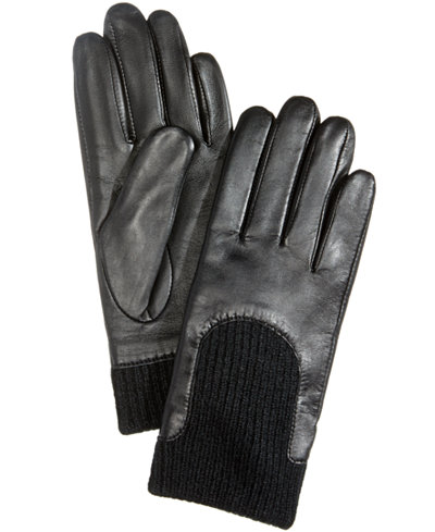 Charter Club Leather & Knit Touchscreen Gloves, Created for Macy's