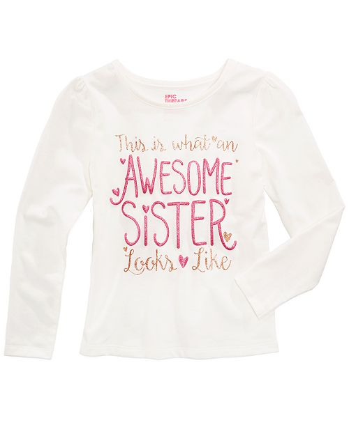 Epic Threads Mix and Match Awesome Sister Graphic-Print Shirt, Toddler Girls, Created for Macy's
