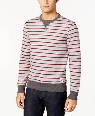 Tommy Hilfiger Men's Lightweight Striped Crew Neck Sweatshirt