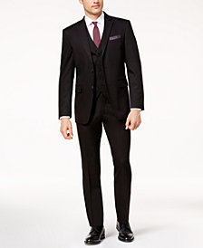 Perry Ellis Men's Slim-Fit Black Vested Stretch Suit