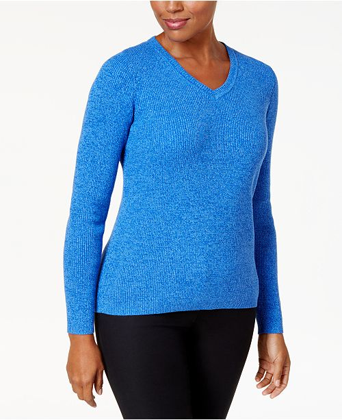 Karen Scott Petite Cotton Ribbed Marled Sweater, Created for Macy's