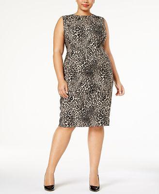 Calvin Klein Plus Size Printed Jacquard Tank Sheath Dress