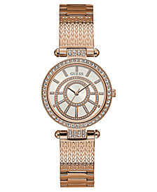 GUESS Women's Rose Gold-Tone Stainless Steel Bracelet Watch 32mm