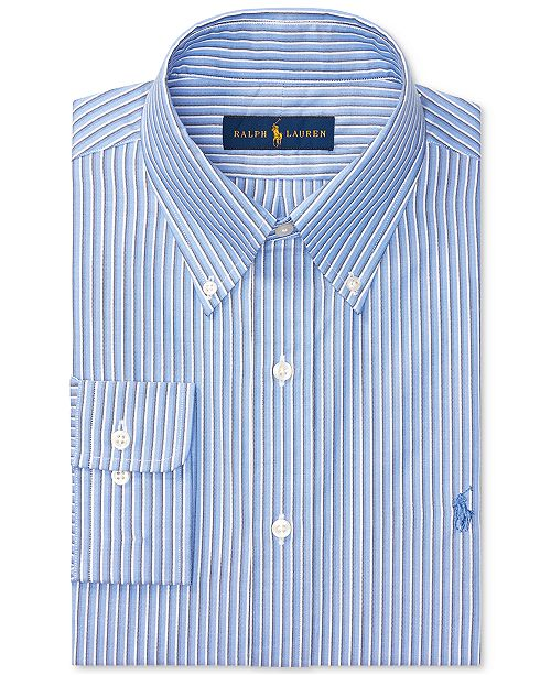 Men's Striped Lauren Oxford Fit Multi Dress Polo Ralph Blue Regular D2E9YWHI