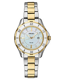 Seiko Women's Solar Dress Diamonds-Accent Sport Two-Tone Stainless Steel Bracelet Watch 33mm