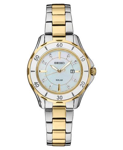 Seiko Women's Solar Dress Diamonds-Accent Sport Two-Tone Stainless Steel Bracelet Watch 33mm