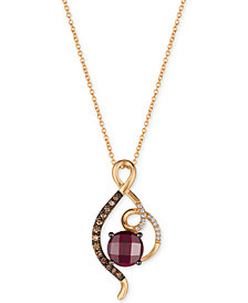Le Vian Chocolatier® Rasberry Rhodolite® (2-1/2 ct. t.w.) & Diamond (1/4 ct. t.w.) Pendant Necklace in 14k Rose Gold