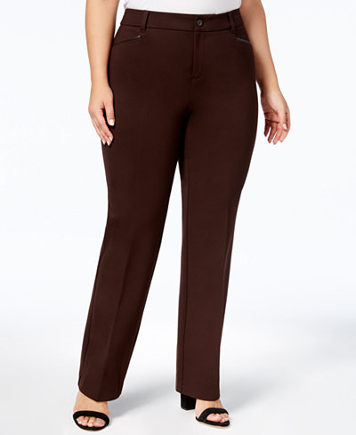 Charter Club Plus Size Faux-Leather-Trim Ponte Pants, Created for Macy's