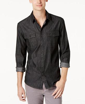 American rag men 39 s big tall deija solid denim shirt for Big and tall button up shirts