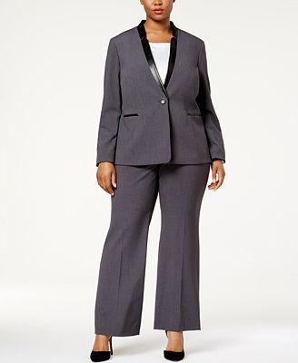 Tahari Asl Plus Size Single Button Faux Leather Trim Pantsuit Wear