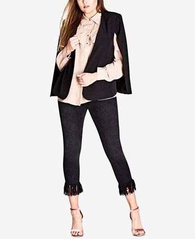 City Chic Trendy Plus Size Sharp Cape Jacket
