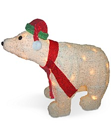 "18.5"" White Tinsel 3D Polar Bear With 35 Clear Lights"