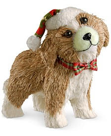 "11.5"" Holiday Puppy With Santa Hat & Bowtie"
