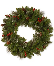"30"" Crestwood Spruce Wreath with Cones, Glitter & Red Berries"