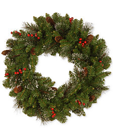 """National Tree Company 30"""" Crestwood Spruce Wreath with Cones, Glitter & Red Berries"""