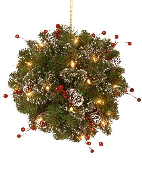 """National Tree Company 12"""" Glittery Mountain Spruce Kissing Ball With Pine Cones, Berries & 35 Battery-Operated LED Lights"""