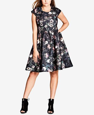 City Chic Trendy Plus Size Vintage Peony Fit & Flare Dress