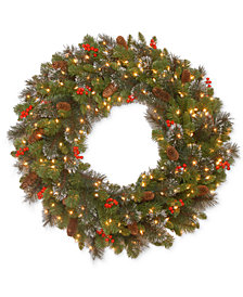 "National Tree Company 36"" Crestwood Spruce Wreath with 200 Clear Lights"