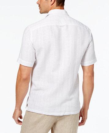 Tasso Elba Short-Sleeve Textured Linen-Blend Shirt, Created for ...
