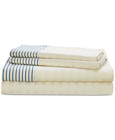 Lauren Ralph Lauren Josephina Cotton 4-Pc. Textured Yarn-Dyed Stripe Queen Sheet Set