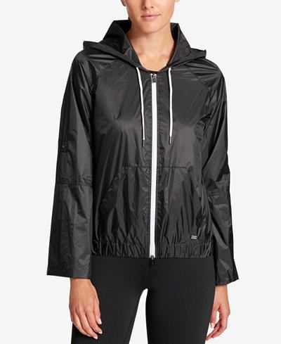 DKNY Sport Hooded Windbreaker Jacket - Jackets - Women - Macy's
