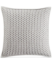 "CLOSEOUT! Hotel Collection  Fretwork Pintucked Stripe 18"" Square Decorative Pillow, Created for Macy's"