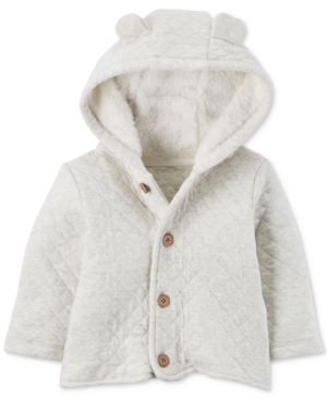 Carters Hooded FleeceLined Quilted Jacket Baby Boys  Girls (024 months)
