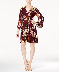 Ivanka Trump Floral-Print Burnout Wrap Dress
