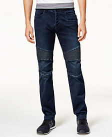 A|X Armani Exchange Men's Slim-Fit Dark Wash Moto Stretch Jeans