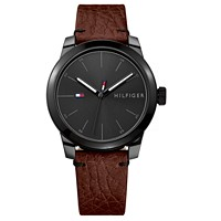 Deals on Tommy Hilfiger Men's Brown Leather Strap Watch 42mm