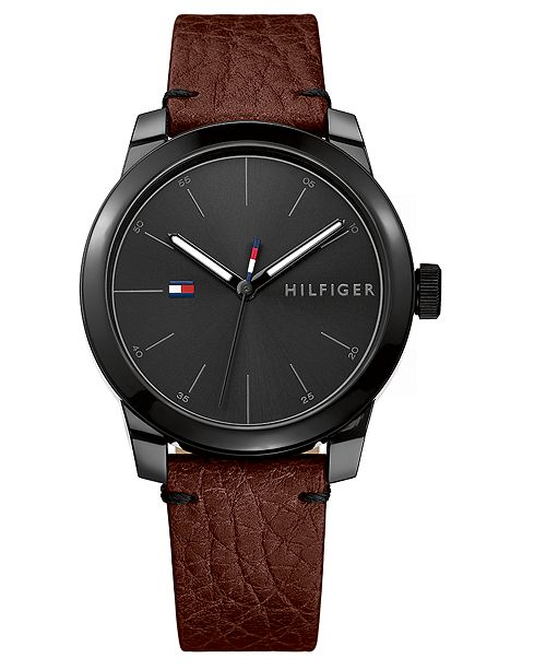 6317fa74 ... Tommy Hilfiger Men's Brown Leather Strap Watch 42mm, Created for Macy's  ...