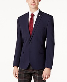 Men's Slim-Fit Navy Textured Jacket