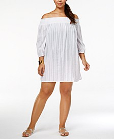 Plus Size Cotton Off-The-Shoulder Cover-Up