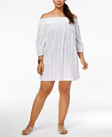 Lauren Ralph Lauren Plus Size Cotton Off-The-Shoulder Cover-Up