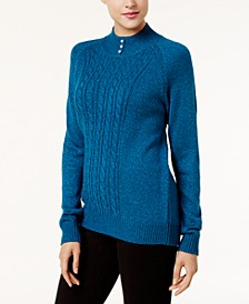 Button-Trim Mock-Neck Sweater, Created for Macy's