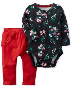 Carters 2Pc Cotton Henley Bodysuit  Pants Set Baby Girls (024 months)