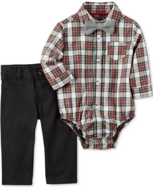 Carters 3Pc Cotton Plaid Bodysuit Bow Tie  Pants Set Baby Boys (024 months)