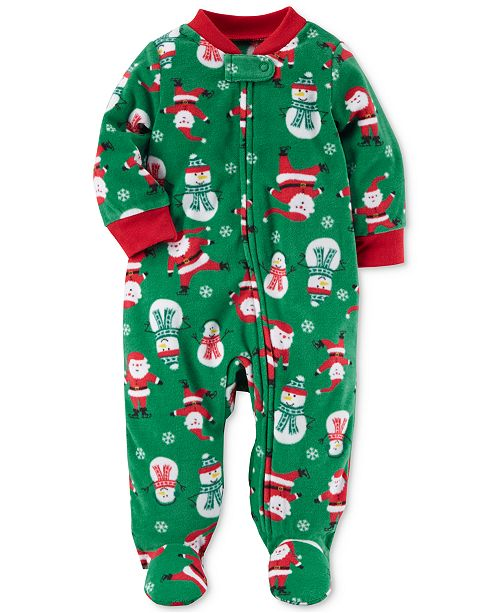 1-Pc. Santa-Print Footed Coverall, Baby Boys