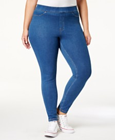 HUE® Plus Size Original Denim Leggings, Created for Macy's