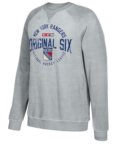 CCM Men's New York Rangers Original 6 Classic Crew Sweatshirt