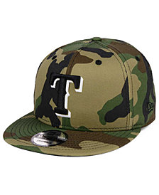 New Era Texas Rangers Woodland Black/White 9FIFTY Snapback Cap