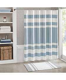 "Madison Park Spa 3M Scotchgard™ Waffle-Weave Stripe 72"" Square Shower Curtain"
