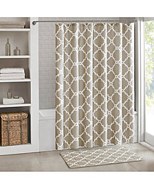 "Madison Park Essentials Merritt Fretwork-Print 72"" Square Shower Curtain"