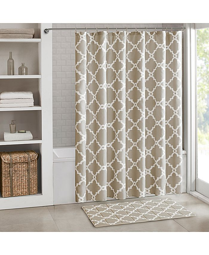 "Madison Park - Merritt Fretwork-Print 72"" Square Shower Curtain"