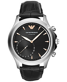 Emporio Armani Men's Connected Black Leather Strap Hybrid Smart Watch 43mm