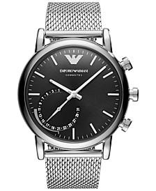 Men's Connected Stainless Steel Mesh Bracelet Hybrid Smart Watch 43mm